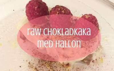 Raw chokladkaka med vitchoklad och hallon